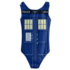 Tardis Doctor Who Time Travel Kids  Cut Out Back One Piece Swimsuit