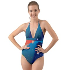 Tardis Doctor Time Travel Halter Cut-out One Piece Swimsuit