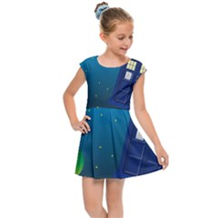 Tardis Doctor Time Travel Kids  Cap Sleeve Dress by HermanTelo