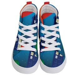 Tardis Doctor Time Travel Kids  Hi Top Skate Sneakers