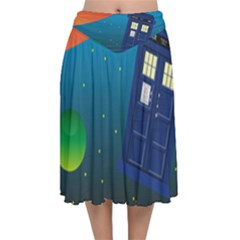 Tardis Doctor Time Travel Velvet Flared Midi Skirt by HermanTelo