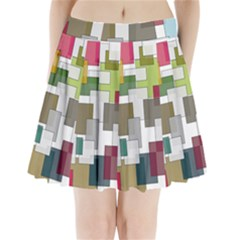 Wallpaper Texture Plaid Pleated Mini Skirt by HermanTelo