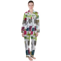 Wallpaper Texture Plaid Satin Long Sleeve Pyjamas Set