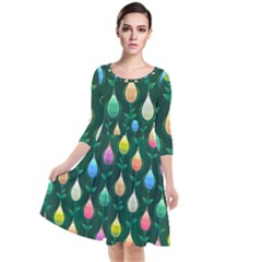 Tulips Seamless Pattern Background Quarter Sleeve Waist Band Dress