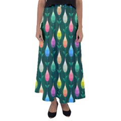 Tulips Seamless Pattern Background Flared Maxi Skirt