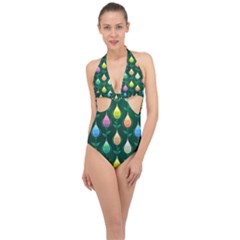 Tulips Seamless Pattern Background Halter Front Plunge Swimsuit by HermanTelo