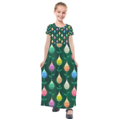 Tulips Seamless Pattern Background Kids  Short Sleeve Maxi Dress by HermanTelo