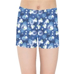White Flowers Summer Plant Kids  Sports Shorts
