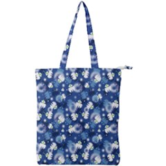 White Flowers Summer Plant Double Zip Up Tote Bag by HermanTelo