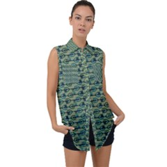 Most Overwhelming Key   Green   Sleeveless Chiffon Button Shirt
