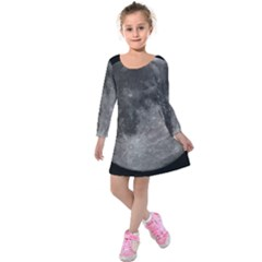 Full Moon Kids  Long Sleeve Velvet Dress by TheAmericanDream