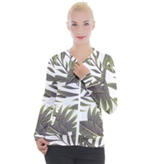 Tropical Leaves Casual Zip Up Jacket