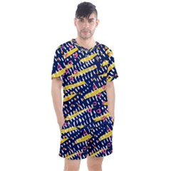 Abstract Colorful Doodle Pattern Men s Mesh Tee And Shorts Set by tarastyle