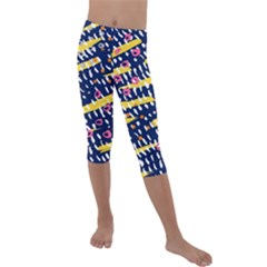 Abstract Colorful Doodle Pattern Kids  Lightweight Velour Capri Leggings  by tarastyle