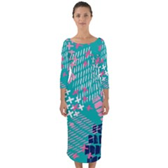 Abstract Colorful Doodle Pattern Quarter Sleeve Midi Bodycon Dress by tarastyle