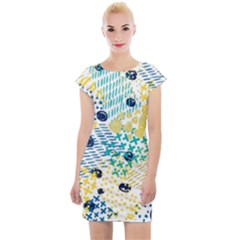 Abstract Colorful Doodle Pattern Cap Sleeve Bodycon Dress by tarastyle