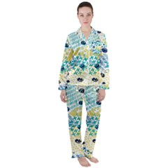 Abstract Colorful Doodle Pattern Satin Long Sleeve Pyjamas Set