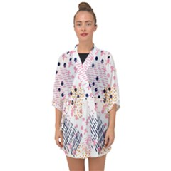 Abstract Colorful Doodle Pattern Half Sleeve Chiffon Kimono by tarastyle