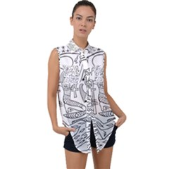 Egyptian Hieroglyphics History Seb Sleeveless Chiffon Button Shirt