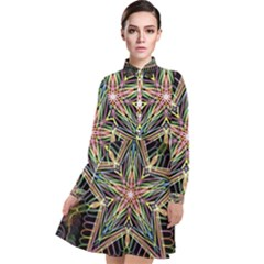 Star Mandala Pattern Design Doodle Long Sleeve Chiffon Shirt Dress