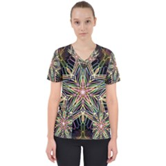 Star Mandala Pattern Design Doodle Women s V Neck Scrub Top