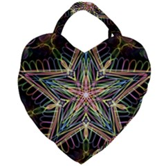 Star Mandala Pattern Design Doodle Giant Heart Shaped Tote