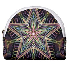 Star Mandala Pattern Design Doodle Horseshoe Style Canvas Pouch
