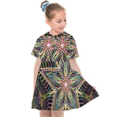 Star Mandala Pattern Design Doodle Kids  Sailor Dress by Pakrebo