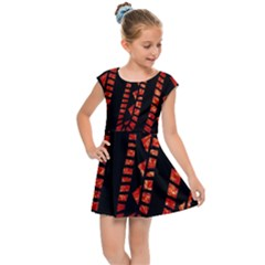 Background Abstract Red Black Kids  Cap Sleeve Dress by Pakrebo