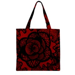 Background Abstract Red Black Zipper Grocery Tote Bag