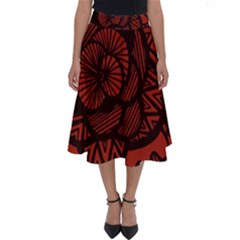Background Abstract Red Black Perfect Length Midi Skirt