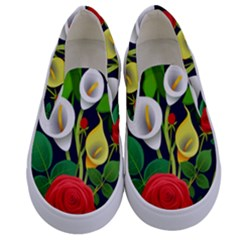 Flowers Charter Flowery Bouquet Kids  Canvas Slip Ons