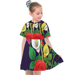 Flowers Charter Flowery Bouquet Kids  Sailor Dress by Pakrebo
