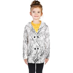 Forest Trees Silhouette Tree Kids  Double Breasted Button Coat by Pakrebo