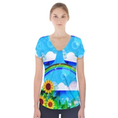 Sunflower And Rainbow Ocean Bokeh Short Sleeve Front Detail Top