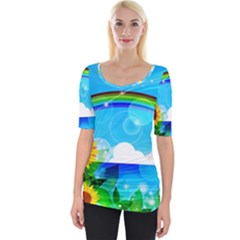 Sunflower And Rainbow Ocean Bokeh Wide Neckline Tee by Pakrebo