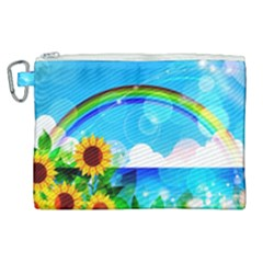 Sunflower And Rainbow Ocean Bokeh Canvas Cosmetic Bag (xl)