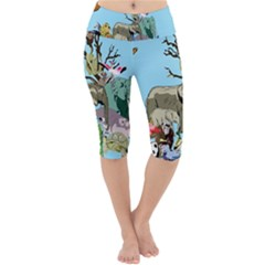 Zoo Animals Peacock Lion Hippo Lightweight Velour Cropped Yoga Leggings