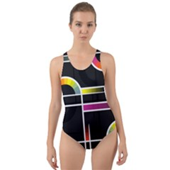 Background Abstract Semi Circles Cut Out Back One Piece Swimsuit by Pakrebo