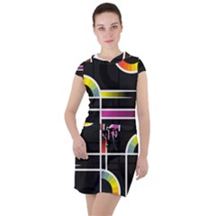 Background Abstract Semi Circles Drawstring Hooded Dress