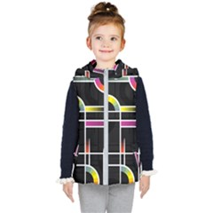 Background Abstract Semi Circles Kids  Hooded Puffer Vest by Pakrebo