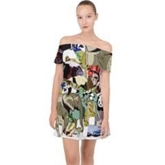 Zoo Animals Peacock Lion Hippo Off Shoulder Chiffon Dress