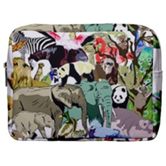 Zoo Animals Peacock Lion Hippo Make Up Pouch (large) by Pakrebo