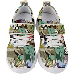 Zoo Animals Peacock Lion Hippo Kids  Velcro Strap Shoes by Pakrebo