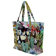 Zoo Animals Peacock Lion Hippo Zip Up Canvas Bag by Pakrebo
