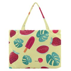 Watermelon Leaves Strawberry Zipper Medium Tote Bag by Pakrebo