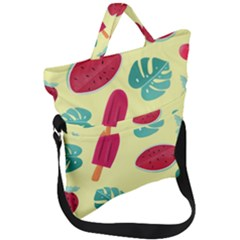 Watermelon Leaves Strawberry Fold Over Handle Tote Bag by Pakrebo