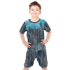 Cityscape Buildings Skyscraper Kids  Tee And Shorts Set
