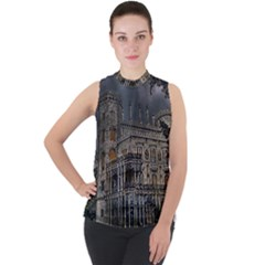 Castle Mansion Architecture House Mock Neck Chiffon Sleeveless Top