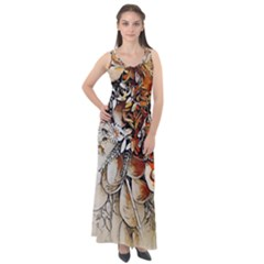 Collage Art The Statue Of Shell Sleeveless Velour Maxi Dress